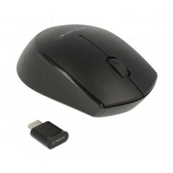 DELOCK Wireless mini Mouse, Οπτικό, USB Type-C receiver, 3-button, μαύρο