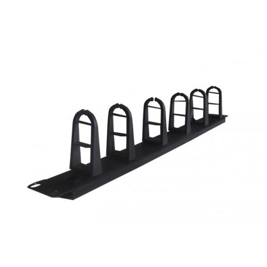 CABLE MANAGER CENTRAL 1U 6 HOOK BLACK METAL/PLASTIC