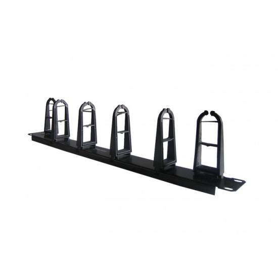 CABLE MANAGER CENTRAL 1U 4H/2V HOOK BLACK METAL/PLASTIC