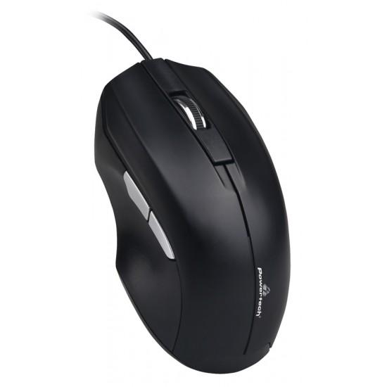 POWERTECH ενσύρματο ποντίκι PT-851, 1600DPI, USB, μαύρο